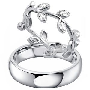 2 PC Men & Women Wedding Anniversary Band Ring Set